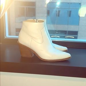 Rag & Bone White Leather Booties with Wood Heel